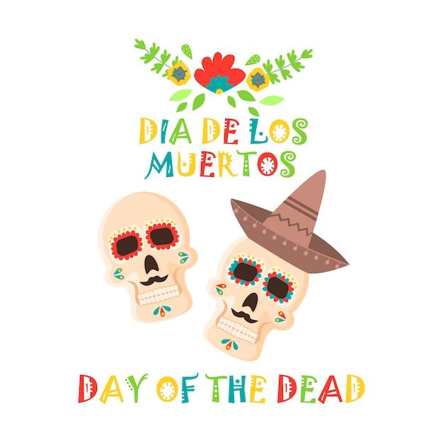 Day of the dead poster, mexican dia de los muertos sugar skull holiday. Premium Vector