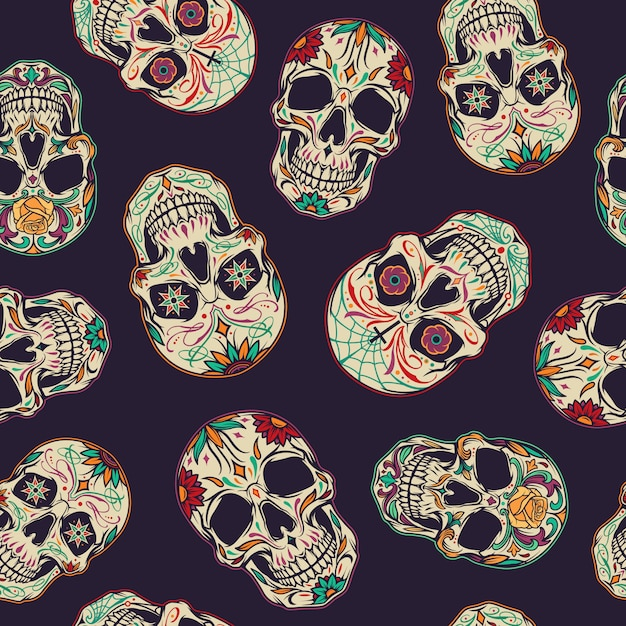 Day of the dead seamless pattern Free Vector
