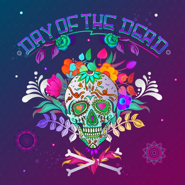 Day of the dead. skull background with bones Premium Vector