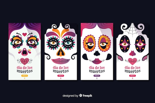 Day of the dead stories collection Free Vector