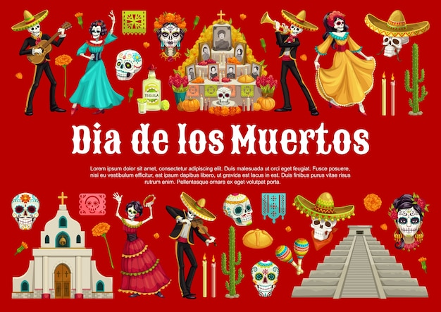 Day of the dead sugar skulls and catrina with mexican dia de los muertos altar  banner. dancing skeletons with sombreros, guitars and maracas, marigold flowers, tequila, bread and pyramid Premium Vector
