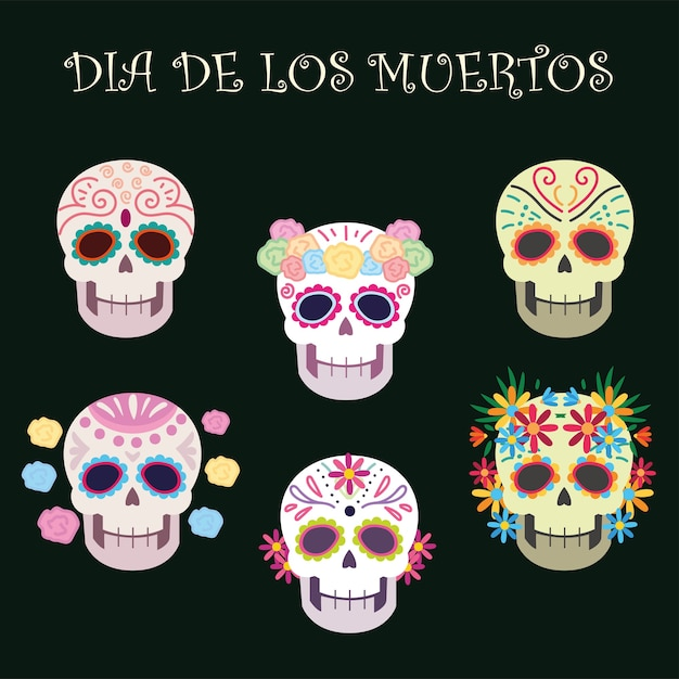 Day of the dead, sugar skulls decoration flowers mexican celebration Premium Vector