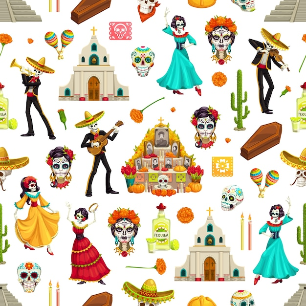 Day of dead sugar skulls, marigolds and sombreros seamless pattern. dia de los muertos  background of mariachi and flamenco dancer skeletons with guitars, altar and churches, maracas and tequila Premium Vector