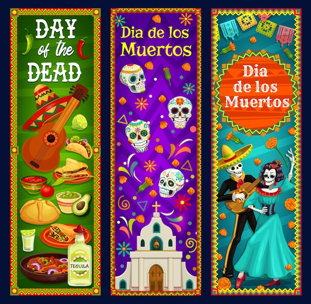 Day of the dead sugar skulls, skeleton and catrina  banners. mexican dia de los muertos sombrero, guitar and marigold flowers, musical festival mariachi and calavera, church, bread and tequila Premium Vector