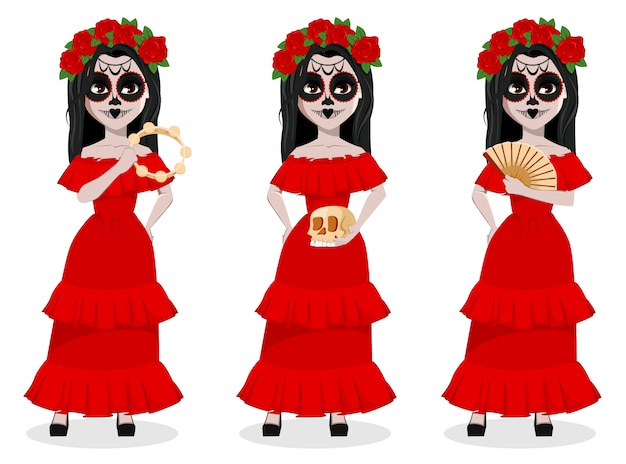 Day of the dead traditional holiday Premium Vector