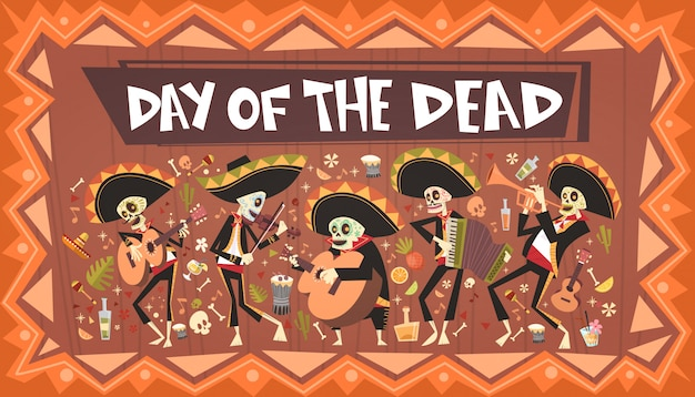 Day of dead traditional mexican halloween dia de los muertos holiday party decoration banner invitation Premium Vector