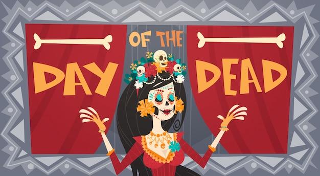 Day of dead traditional mexican halloween dia de los muertos holiday party decoration banner invitation Premium Vector