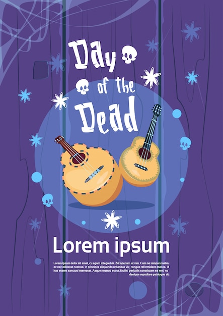 Day of dead traditional mexican halloween holiday party decoration banner invitation Premium Vector