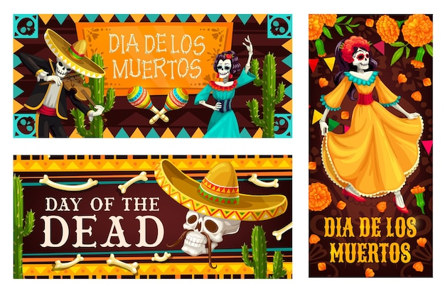 Day of the dead  with dia de los muertos skeletons. mexican holiday skulls, sombrero hats and maracas, catrina calavera and mariachi musician skeletons, cactuses and papel picado flags Premium Vector