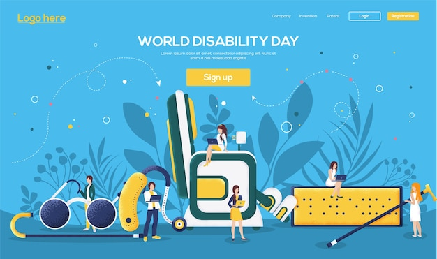 Day of disability landing page Premium Vector