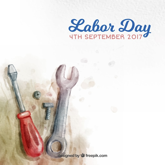 Day labor background in usa with watercolor\ tools