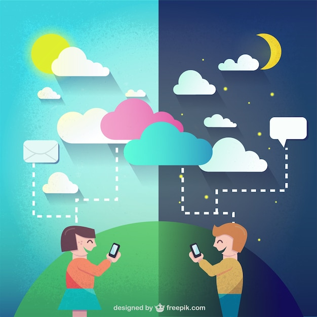 Day and night chatting Free Vector