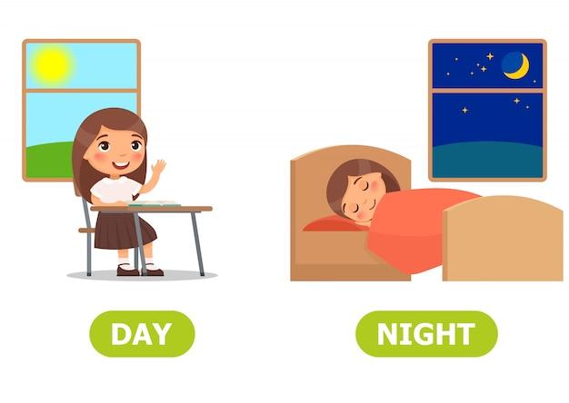 Day and night illustration Premium Vector