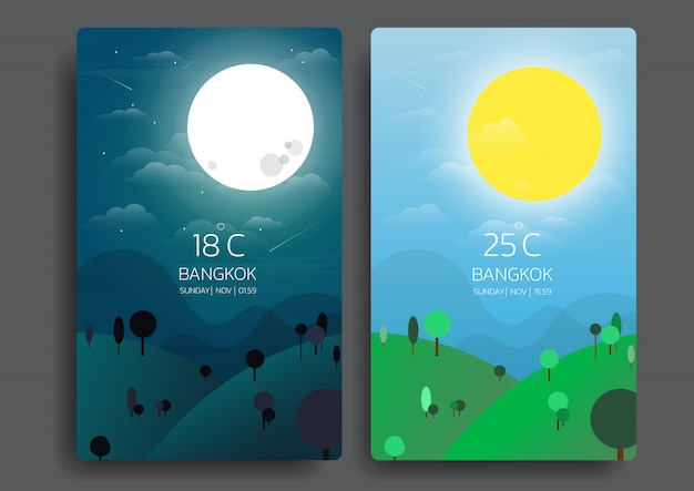 Day and night nature landscape. Premium Vector