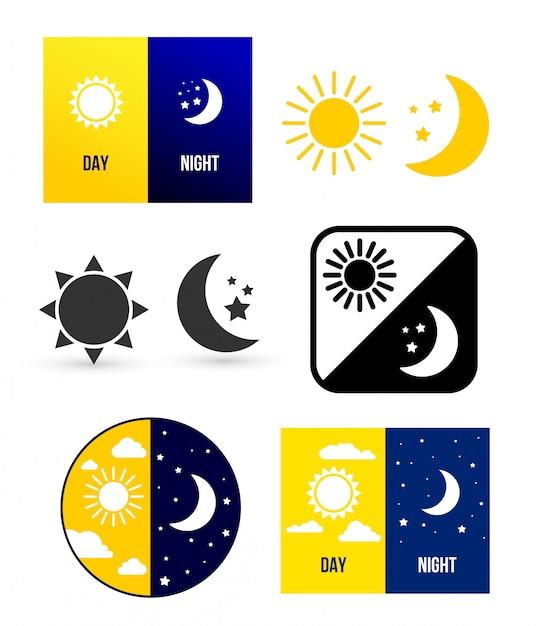 Day and night scenes Premium Vector