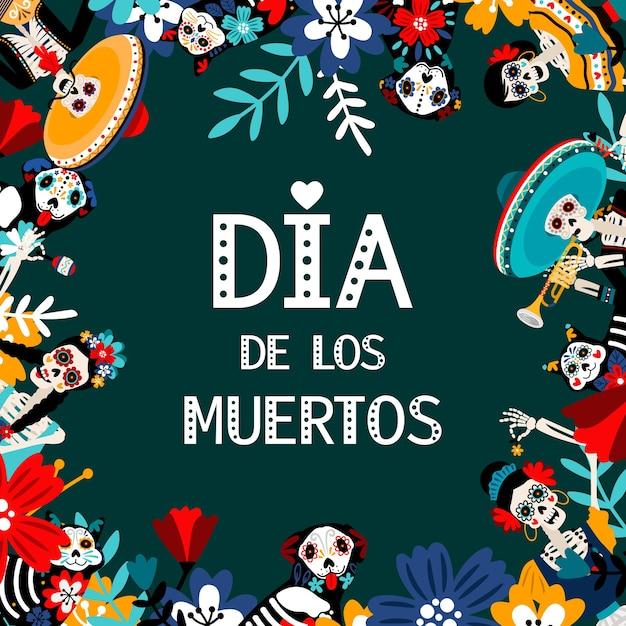 죽음의 날, Dia De Los Muertos, 평면 소셜 미디어 배너 템플릿. 프리미엄 벡터