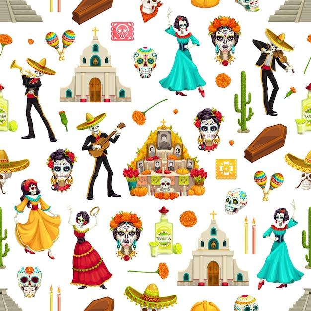 死者の日シュガースカル、マリーゴールド、ソンブレロのシームレスパターン。マリアッチとフラメンコダンサーのスケルトンとギター、祭壇と教会、マラカスとテキーラのディアデロスムエルトスの背景 Premiumベクター