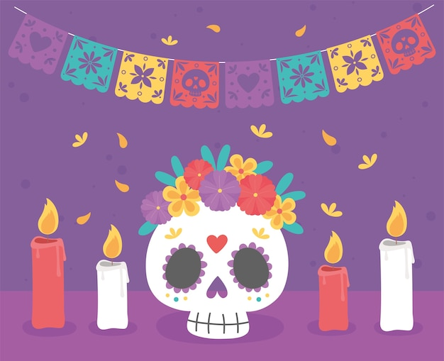 День мертвых, катрина с горящими свечами цветов традиционный мексиканский праздник. Premium векторы