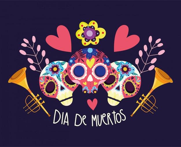 День мертвых, катрины цветы трубы сердца украшение традиционный праздник мексиканец Premium векторы