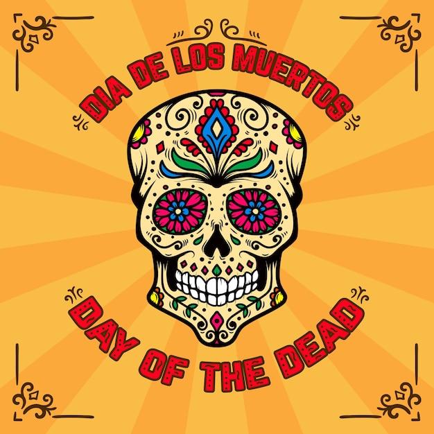 День смерти. dia de los muertos. шаблон баннера с мексиканским сахарным черепом на фоне с цветочным узором. элемент для плаката, открытки, флаера, футболки. иллюстрация Premium векторы