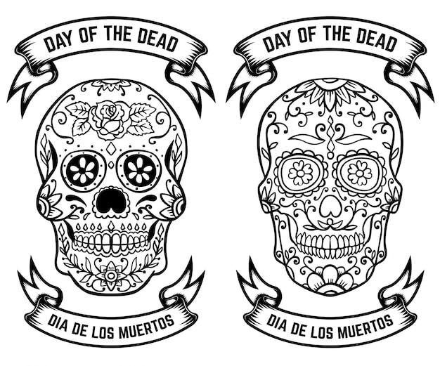 死霊のえじき。 dia de los muertos。シュガースカルのセットです。ポスター、グリーティングカードの要素。図 Premiumベクター
