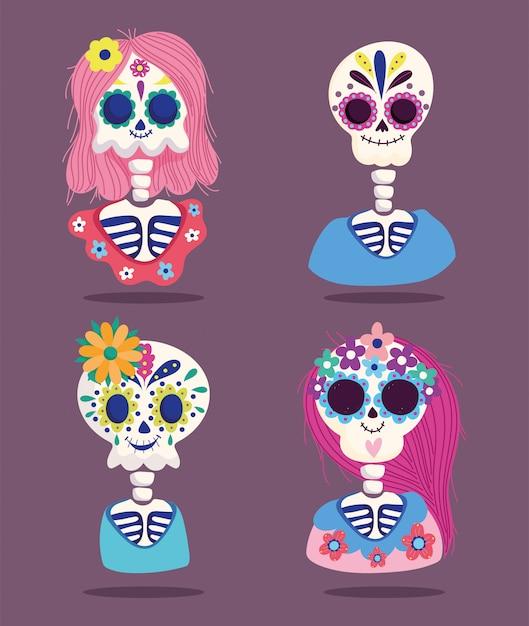 死者の日、女性と男性のスケルトン花装飾伝統的なメキシコのお祝い Premiumベクター