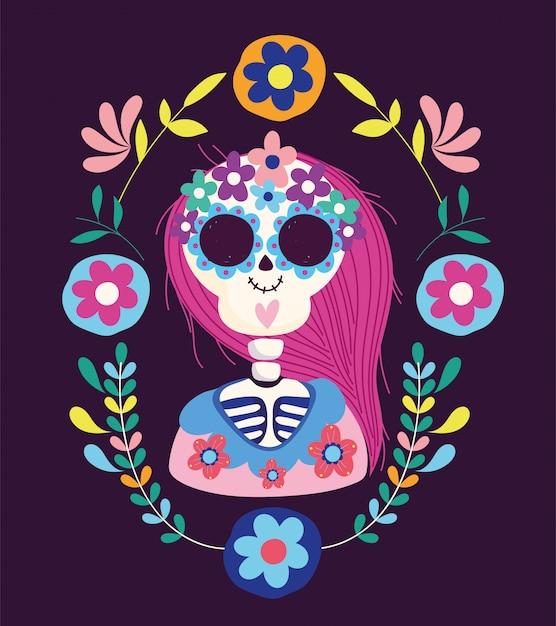 死者の日、女性のスケルトン花民俗伝統的なメキシコのお祝い Premiumベクター