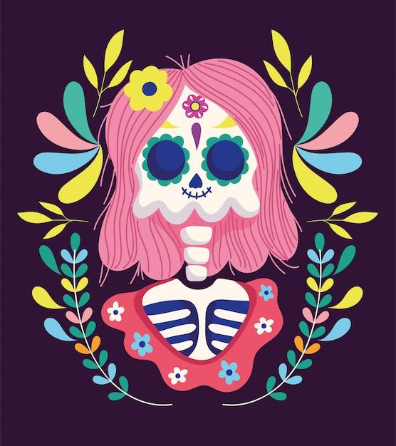 死者の日、髪の花を持つ女性のスケルトンフレーム伝統的なメキシコのお祝い Premiumベクター