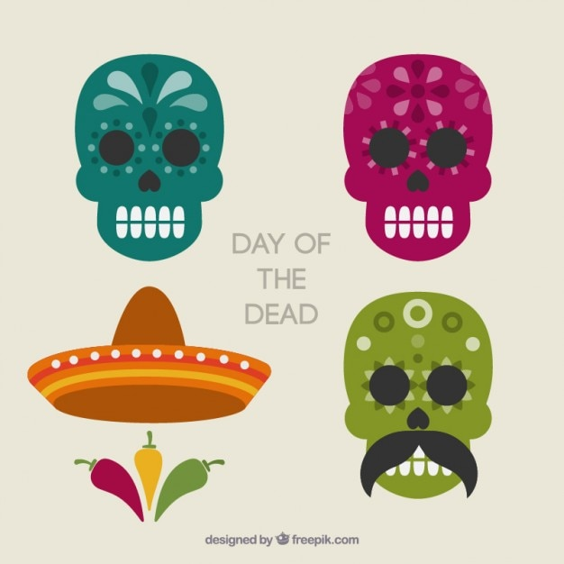 day of the dead mexican skulls vector free download