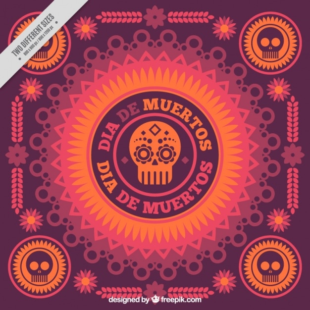 Day of the dead ornamental background  Free Vector