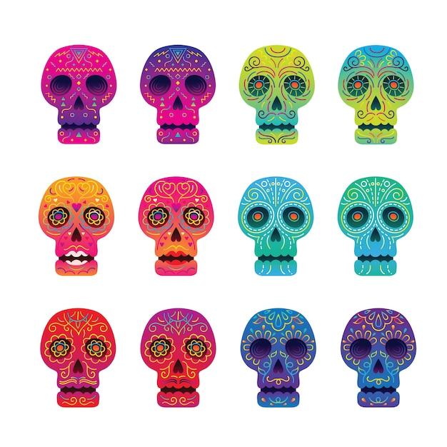 死者の頭蓋骨セットの日 Premiumベクター