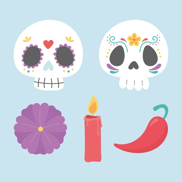 День мертвых, сахарные черепа, свечи, цветок и перец чили, мексиканский праздник. Premium векторы