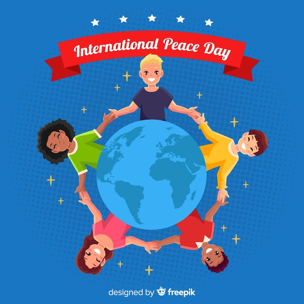 Day of peace composition with children holding hands Free Vector