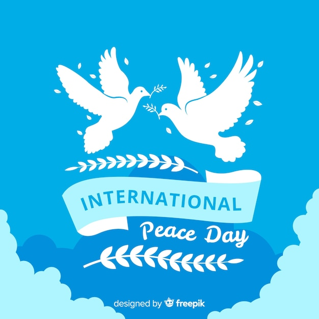 Day of peace composition with flat white dove Free Vector