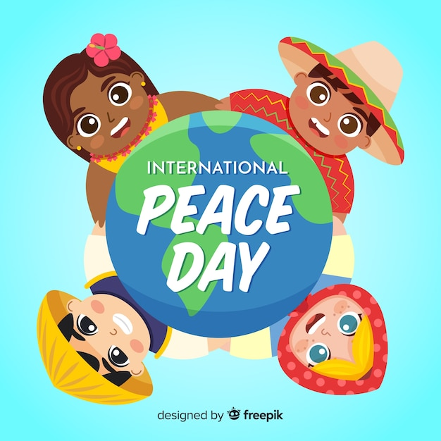 Day of peace and kids from all around the world Free Vector