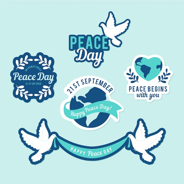 Day of peace pigeon label collection Free Vector