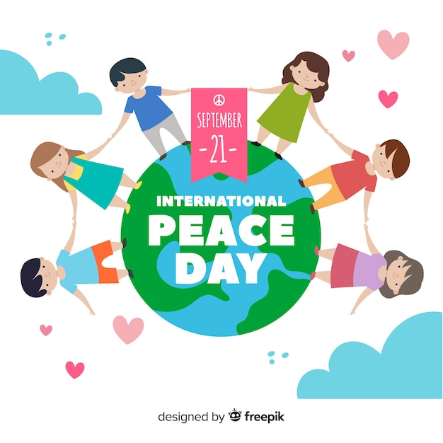 Day of peace with children holding hands and hearts Free Vector