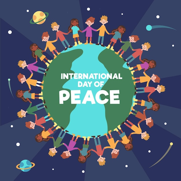 Day of peace with people holding hands around the wold Free Vector