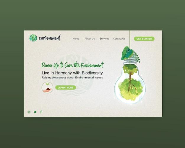 世界環境day.save地球惑星世界概念水彩ベクトルのウェブサイトテンプレートデザイン 無料ベクター