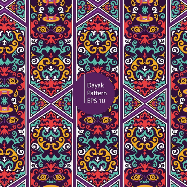 Dayak borneo colorful pattern background Premium Vector