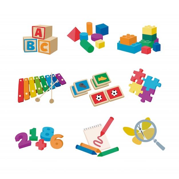 Детские игрушки Premium векторы