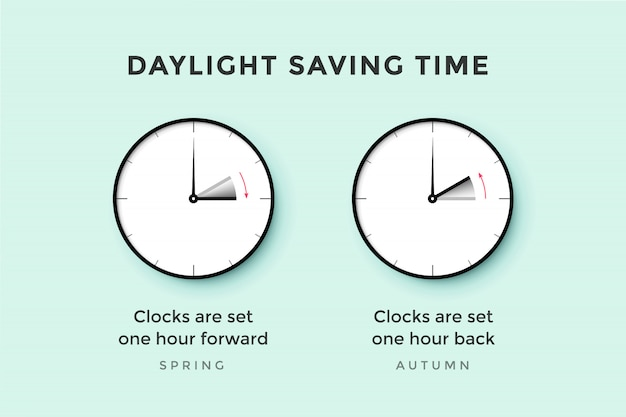 Daylight saving time. set of clock time for spring forward, autumn back, summer time. banner, poster for daylight saving time.  illustration Premium Vector