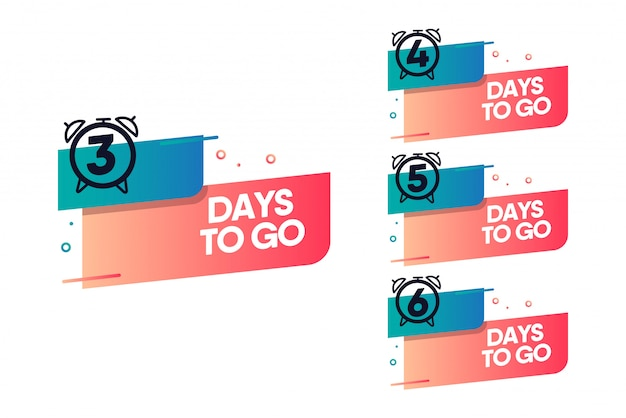 Days to go flat tag with clock. Premium Vector