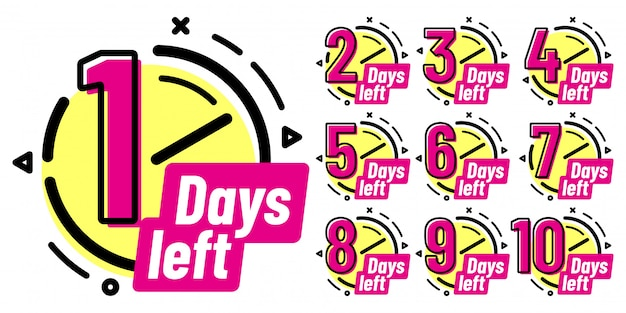 Days left badges, going countdown sign, one day left badge and business date count label isolated  set Premium Vector
