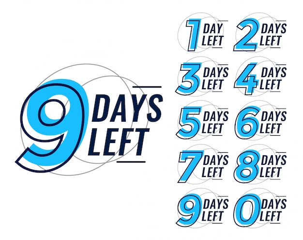 Days left countdown banner set Free Vector