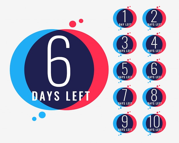 Days left countdown number banner Free Vector
