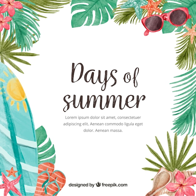 Days of summer background with watercolor\ elements
