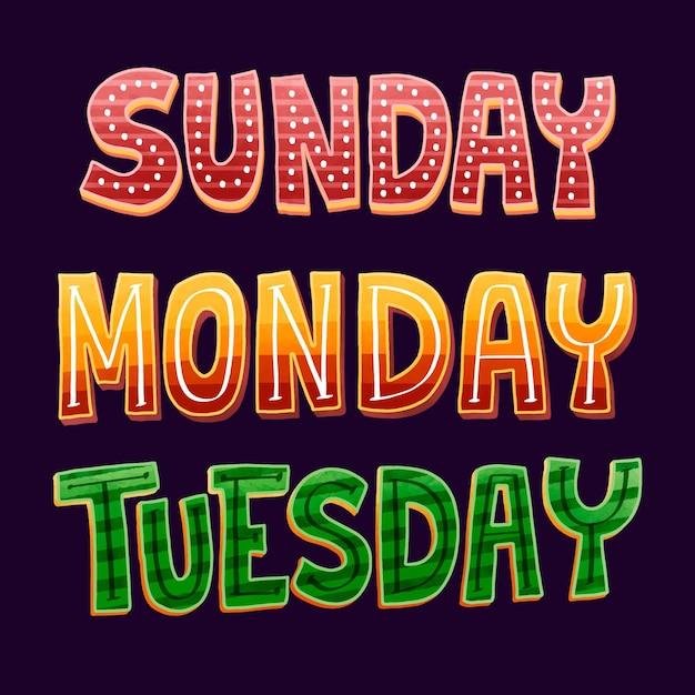Коллекция надписей дней недели Premium векторы