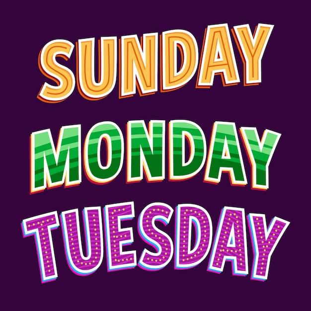 Коллекция надписей дней недели, месяцев и сезонов Premium векторы