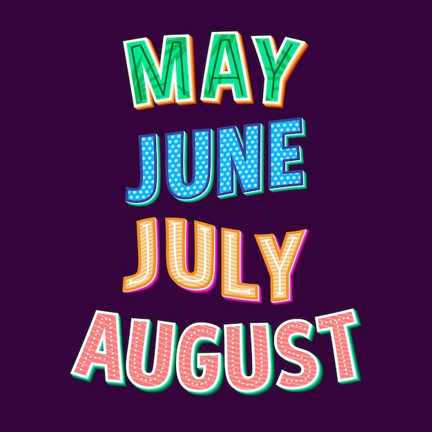 Коллекция надписей дней недели, месяцев и сезонов Бесплатные векторы